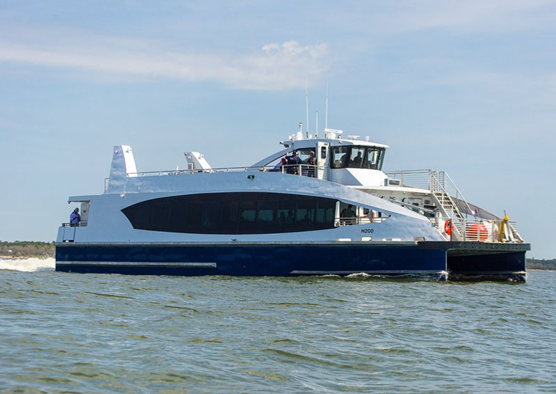 The first Citywide Ferry hull built by Horizon Shipbuilding in sea trials off Bayou LaBatre, La., in March 2017. New York City Mayor's Office/New York City Economic Development Corporation photo.