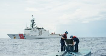 A boarding team from the Coast Guard cutter Stratton on a drug smuggling semisubmersible intercepted in the eastern Pacific in August 2015. Coast Guard photo.