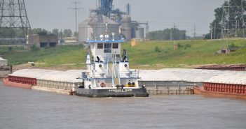 Covered hopper barges in St. Louis in 2016. David Krapf photo.