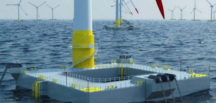 An Ideol rendering shows the company's floating wind turbine technology.