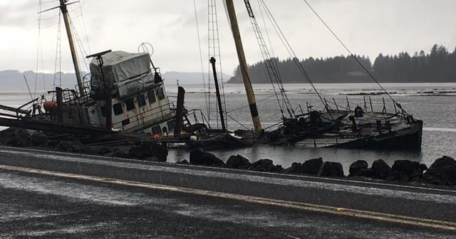 The former research vessel Hero sank in the Palix River near Willapa Bay in Washington State. Pacific County Emergency Management Agency photo.