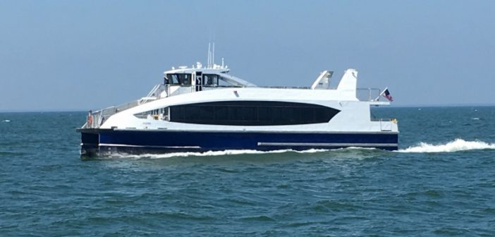 The ferry H200 underway after departing Horizon Shipbuilding, Bayou La Batre, Ala., bound for New York City. Horizon Shipbuilding photo.