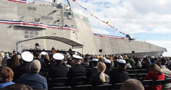 Christening ceremony for the LCS Jackson, Dec. 5, 2015. U.S. Navy photo.