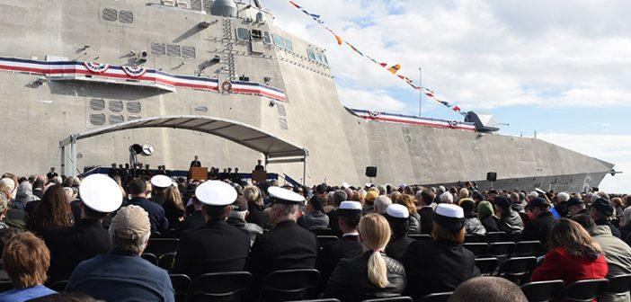 Christening ceremony for the LCS Jackson, Dec. 5, 2015. U.S. Navy photo.