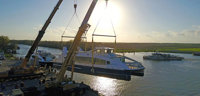 Metal Shark lowers its second hull for Citywide Ferry into the Charenton Canal, Franklin, La., on Feb. 24, 2017. WorkBoat photo.
