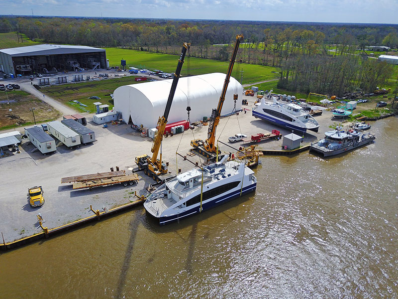 A view from above with the first hull in the water and the second awaiting its turn. WorkBoat photo.