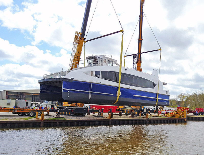 The first ferry is suspended above the Charenton Canal. WorkBoat photo.