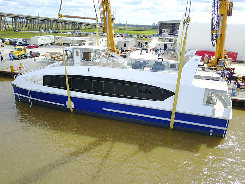 Metal Shark's first Citywide Ferry hull touches water for the first time. WorkBoat photo.
