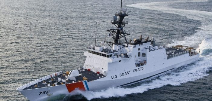 Coast Guard cutter Stratton, the third in the National Security Cutter class, during sea trials. USCG photo.