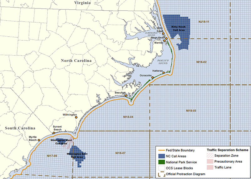 A BOEM map shows the proposed wind energy area off North Carolina.