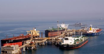 Tankers at the Iraqi Al Basra Oil Terminal in the Northern Arabian Gulf. U.S. Navy photo.