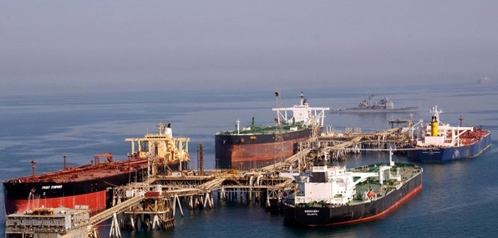 Tankers at the Iraqi Al Basra Oil Terminal in the Northern Arabian Gulf. U.S. Navy photo.