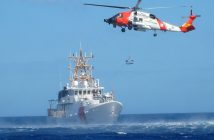 Coast Guard Fast Response Cutter Donald Horsley from Sector San Juan conducts helicopter hoist training off Puerto Rico with the crew of an MH-60 Jayhawk helicopter from Air Station Cape Cod, Mass. on Feb. 8, 2017. USCG photo.