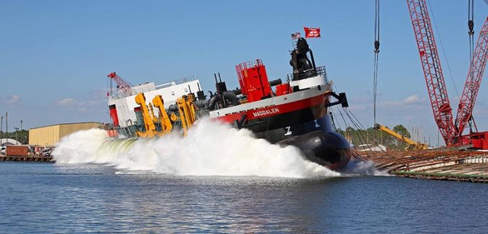 Weeks Marine's new trailing suction hopper dredge goes into the water at Eastern Shipbuilding. Eastern Shipbuilding Group photo.