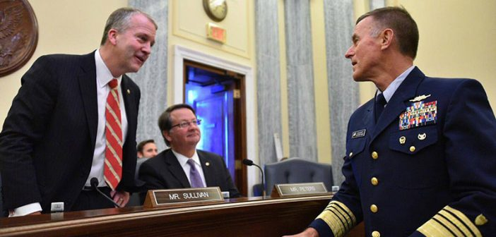 Coast Guard Commandant Adm. Paul Zukunft speaks with Sen. Dan Sullivan, chairman of the Senate Commerce Subcommittee on Oceans, Atmosphere, Fisheries and Coast Guard on March 22, 2017. USCG photo.