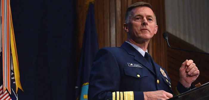 Coast Guard Commandant Adm. Paul Zukunft delivers the 2017 State of the Coast Guard Address at the National Press Club in Washington, D.C., March 16, 2017. USCG photo.