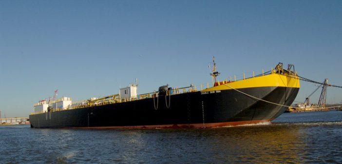"New 361'x62'x24'6"" asphalt barge was christened back in January. Conrad Shipyard photo"