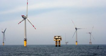 Turbines and energy substation at Germany's Alpha Ventus offshore wind farm. U.S. Department of Energy photo by Gary Norton.