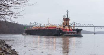 The ATB Meredith C. Reineur and RTC 150 grounded at Catskill, N.Y. Philip Kamrass/ Office of Governor Andrew M. Cuomo.