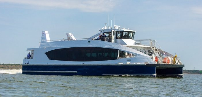 The first vessel for the NYC Ferry undergoing sea trials last month at Bayou La Batre, Ala. New York City Mayor's Office photo.