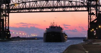 The freighter Cason J. Callaway approaches the Soo Locks on the final day of the 2013 navigation season. USACE photo.