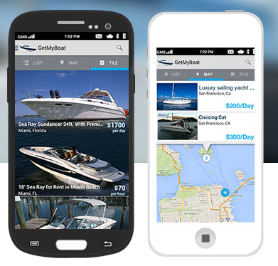 Screenshots show the app interface for San Francisco-based GetMyBoat. Image courtesy GetMyBoat.