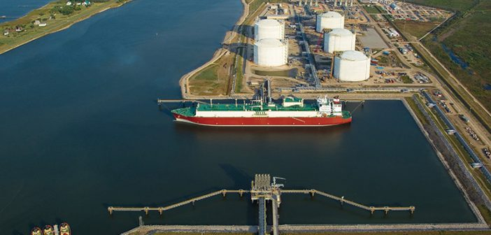 The Golden Pass LNG Terminal on the Sabine-Neches Waterway in Sabine Pass, Texas. Golden Pass LNG Terminal photo.