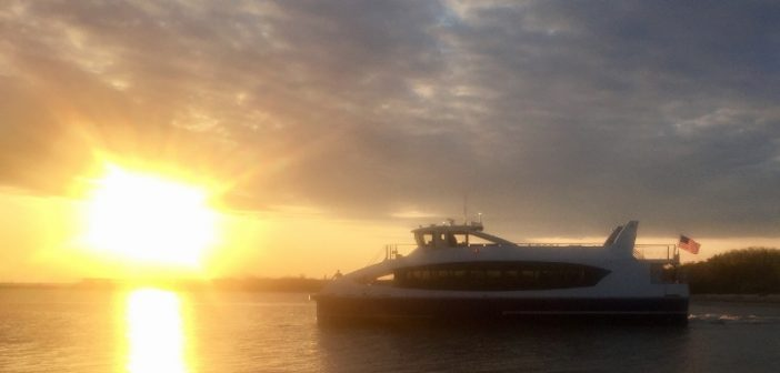 Hull 200, the first vessel delivered for NYC Ferry, at Bayou La Batre, Ala. Horizon Shipbuilding photo.