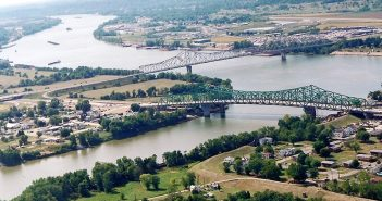 The confluence of the Kanawha and Ohio rivers in West Virginia. USACE photo.