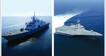 Littoral combat ship variants, the Freedom-class (left, built by Lockheed Martin), and the Independence-class (right, built by Austal USA). Lockheed Martin/Austal photos.
