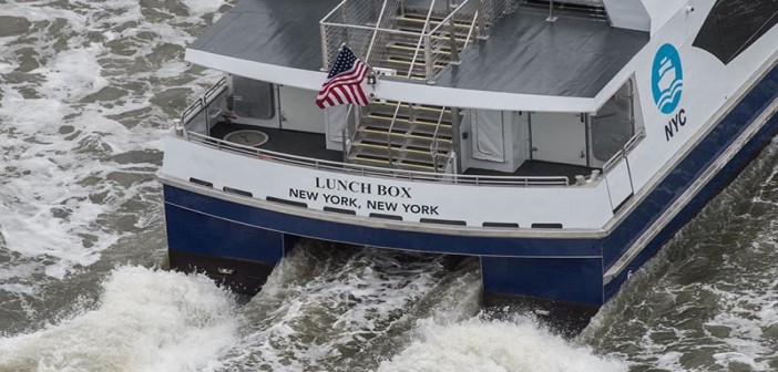 The first NYC Ferry, dubbed Lunch Box, underway on April 17, 2017. NYC Mayor's Office photo by Michael Appleton.