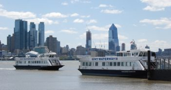 NY Waterway ferries Thomas Jefferson and Alexander Hamilton at the company's Port Imperial terminal. Kirk Moore photo.