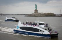 The first NYC Ferry vessel Lunch Box in New York Harbor on its way to Brooklyn April 17, 2017. Michael Appleton/Mayoral Photography Office.