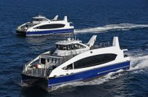 The first two NYC Ferry vessels built by Metal Shark underway to New York City. Metal Shark photo.