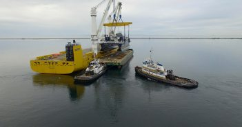 The experimental catamaran Susitna being loaded on barge for transit to the Philippines. Harley Marine Services photo by Bart Pinder.