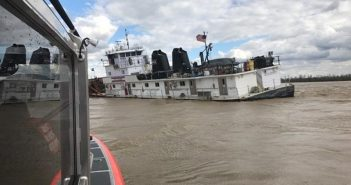 The Mike A. Nadicksbernd allided with Lock and Dam 52 on the Ohio River on April 5, 2017. USCG photo.