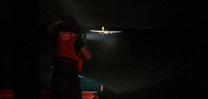 A Coast Guard 24-foot Special Purpose Craft-Shallow Water boat crew from Station Yankeetown, Fla., approaches the site where a small plane crashed in shallow water on April 19, 2017. USCG photo.