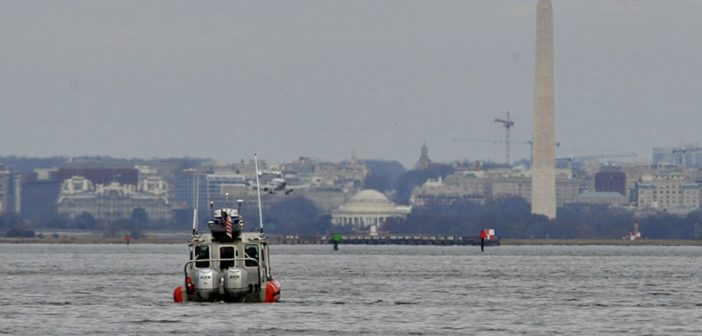 Coast Guard crewmembers aboard a 25' response boat–small enforce a security zone surrounding Washington, D.C. for the 58th Presidential Inauguration, Jan. 19, 2017. USCG photo.