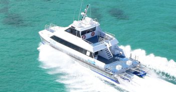 A pair of Thrustmaster Doen DJ172 waterjets hooked up to 805-hp C18 Cats powers the Bue Tobol, a 60' ferry that operates in the Southern Caribbean. Thrustmaster photo.