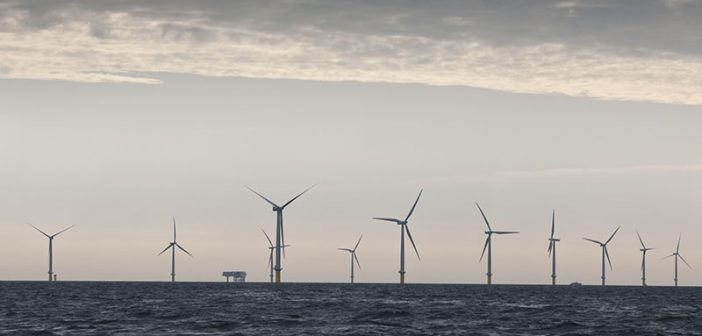 Offshore wind turbines. DONG Energy photo by Bent Sørensen.