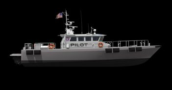 Galveston class pilot boat under construction at Gladding-Hearn. Gladding-Hearn rendering