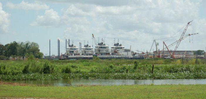 GulfMark Offshore vessels stacked in Houma, La., last summer. Ken Hocke photo