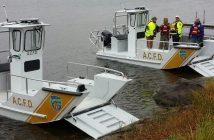 Lake Assault Boats is displaying two vessels at the Fire Department Instructors Conference (FDIC) Exhibition in Indianapolis, Ind. On view will be Lake Assault's nimble 21-foot rescue (foreground) boat and a 28-foot fireboat that is capable of pumping 1,500 gpm. Lake Assault Boats photo