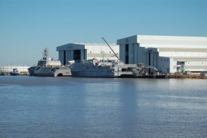 Littoral Combat Ship (l) and Expeditionary Fast Transport vessel at Austal USA earlier this year. Ken Hocke photo