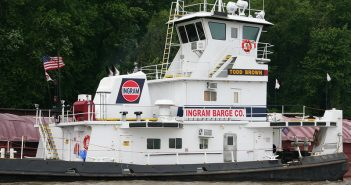 The 80'x28' towboat Todd Brown continues to sink in the Mississippi River. Ingram Barge Co. photo