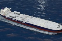 A rendering of the Sovcomflot LNG-fueled oil tankers to be built by Hyundai Heavy Industries. Image courtesy Sovcomflot.