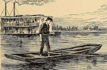 "A circa 1986 illustration of Abraham Lincoln as a young man on the Mississippi River from ""Life of Abraham Lincoln: being a biography of his life from his birth to his assassination ; also a record of his ancestors, and a collection of anecdotes attributed to Lincoln."""