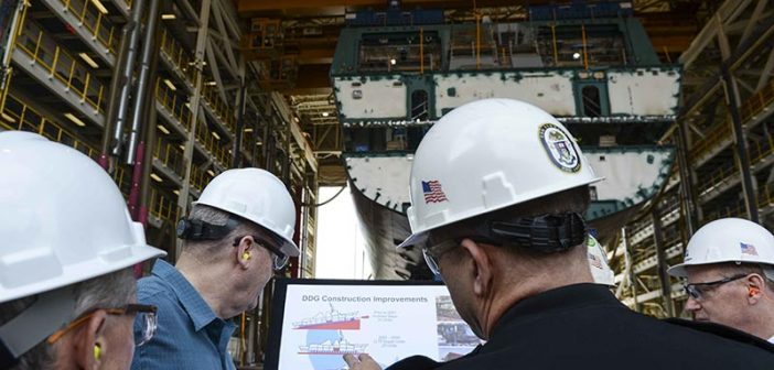 Deputy Secretary of Defense Bob Work tours the Bath Iron Works shipyard in Bath, Maine, on May 12, 2015. Department of Defense photo.