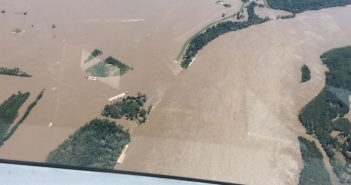 An aerial photograph taken during a Coast Guard over flight shows the impact of flooding in Missouri May 5, 2017. USCG photo.