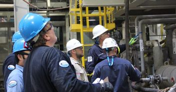 BSEE inspectors at work on a pre-production platform inspection. BSEE photo.